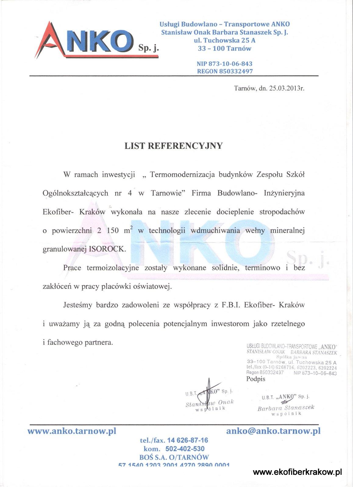 Referencje Anko Tarnów