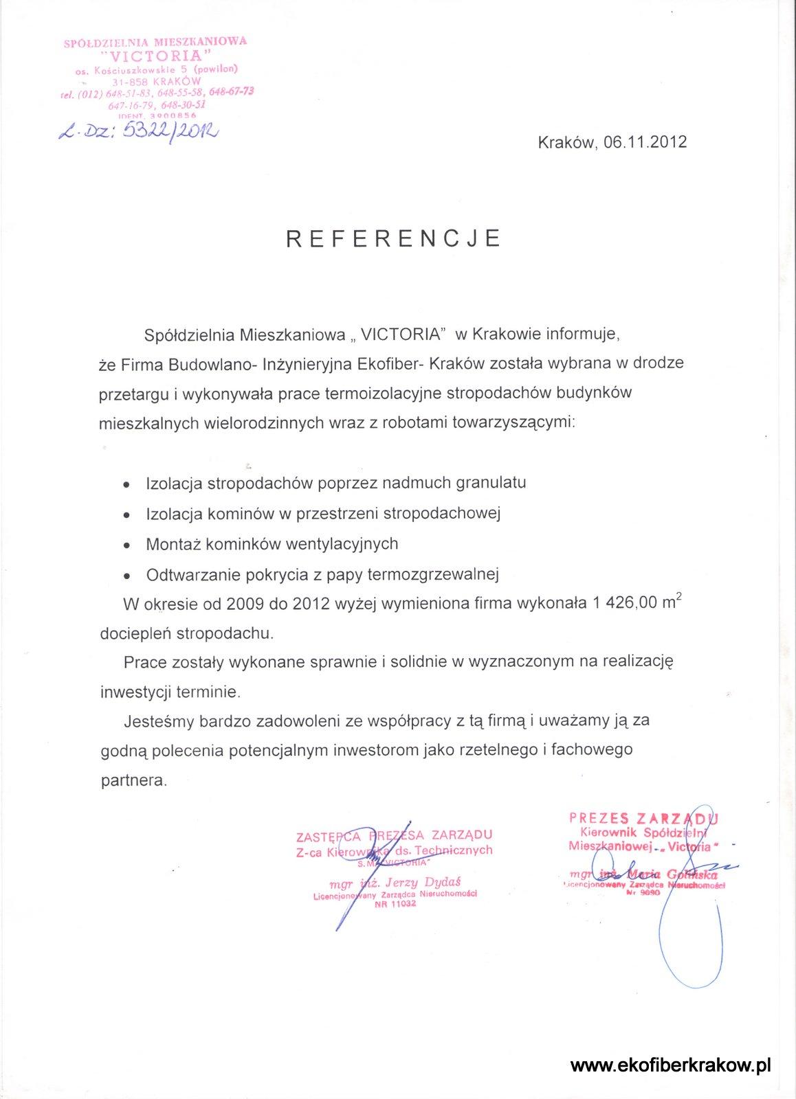 Referencje SM Victoria Kraków