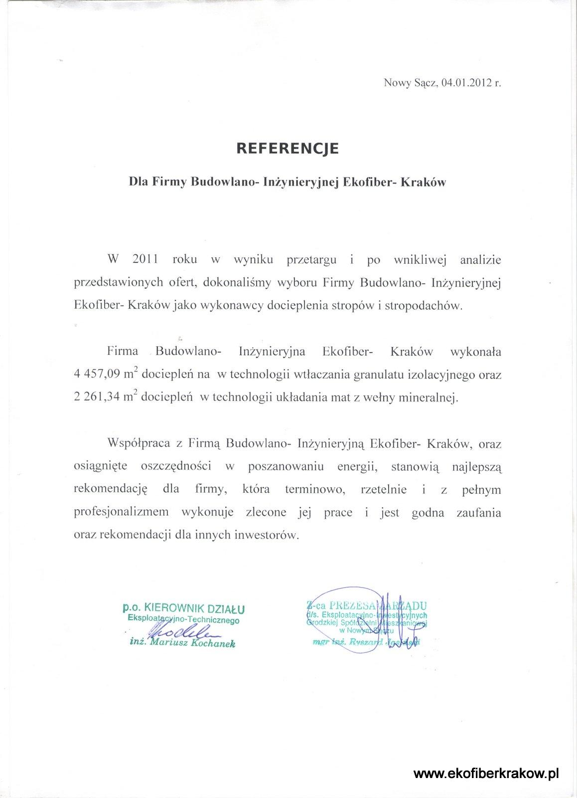 Referencje SM Grodzka Nowy Sącz