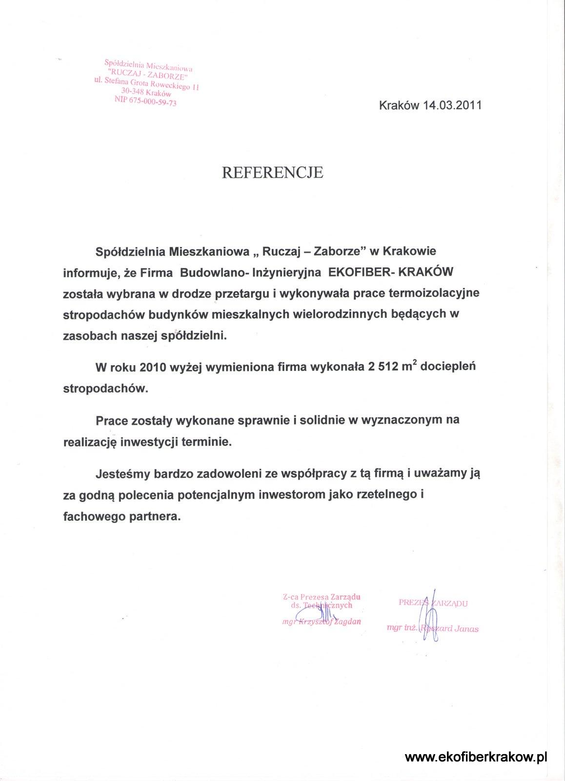 Referencje SM Ruczaj-Zaborze w Krakowie