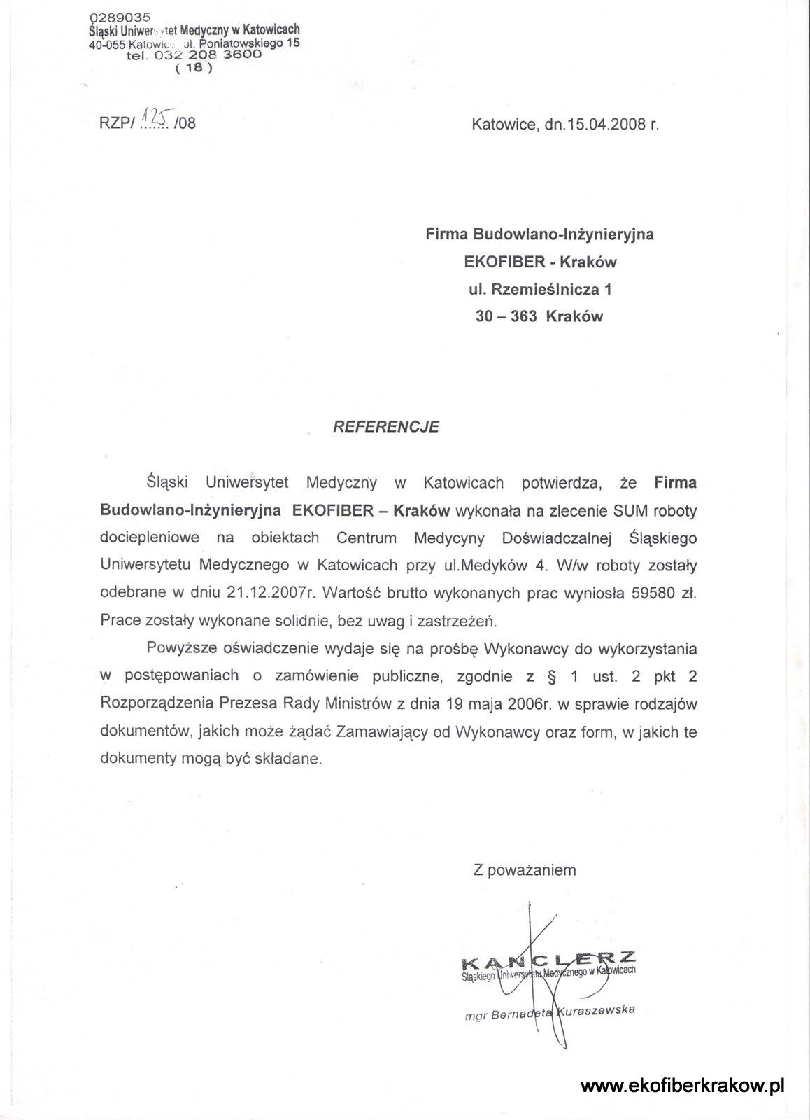 Referencje Śląski Uniwersytet Medyczny