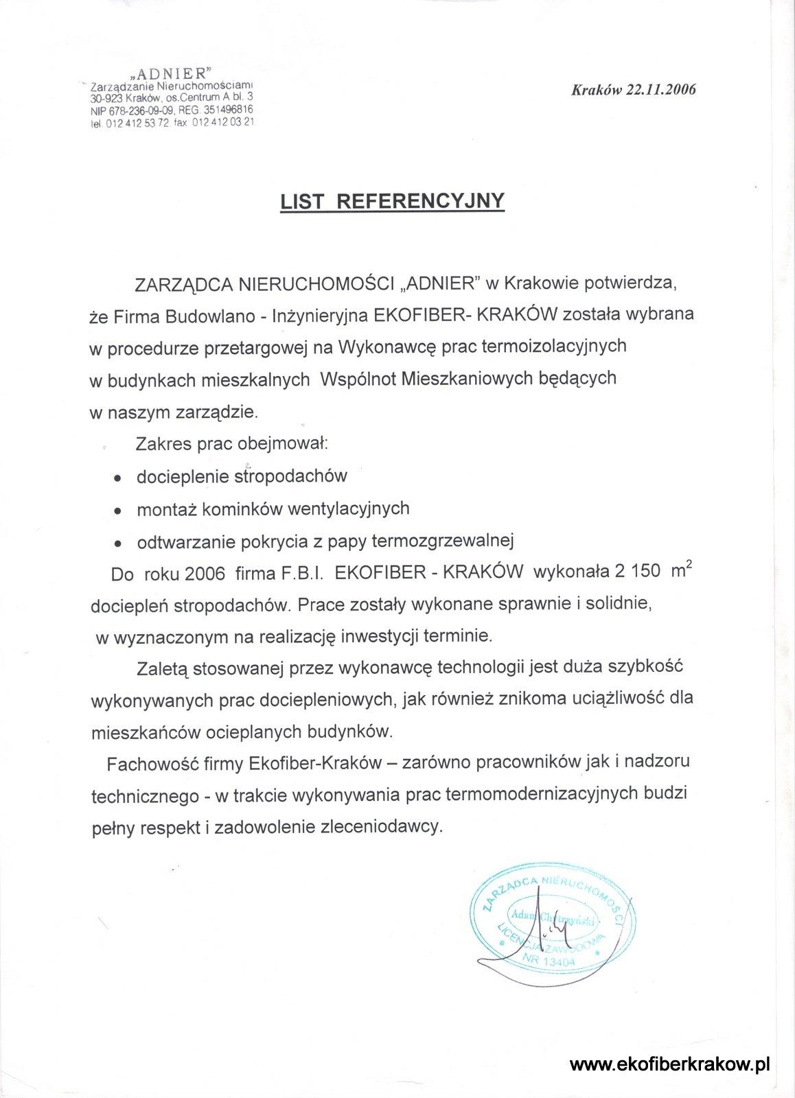 Referencje Adnier Kraków