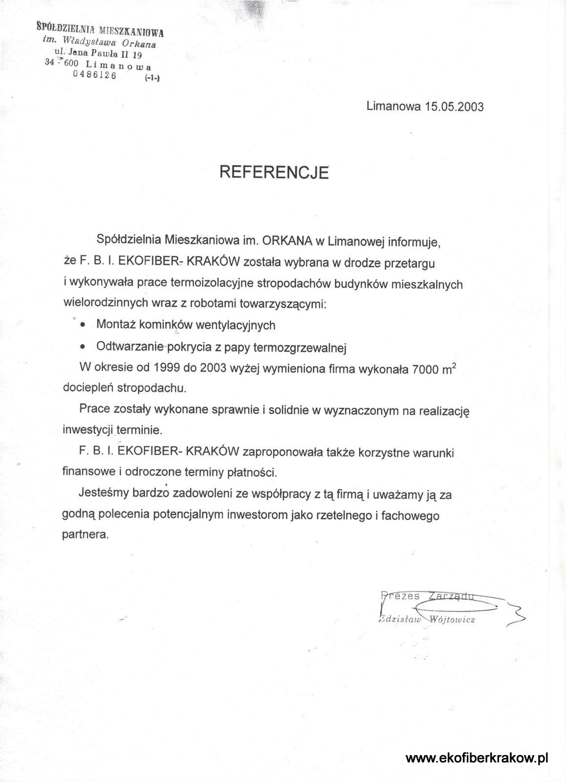 Referencje SM im. Orkana w Limanowej