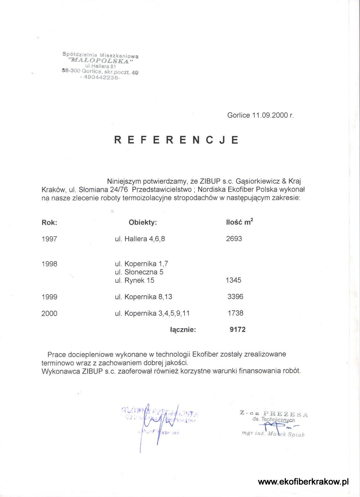 Referencje SM Małopolska w Gorlicach