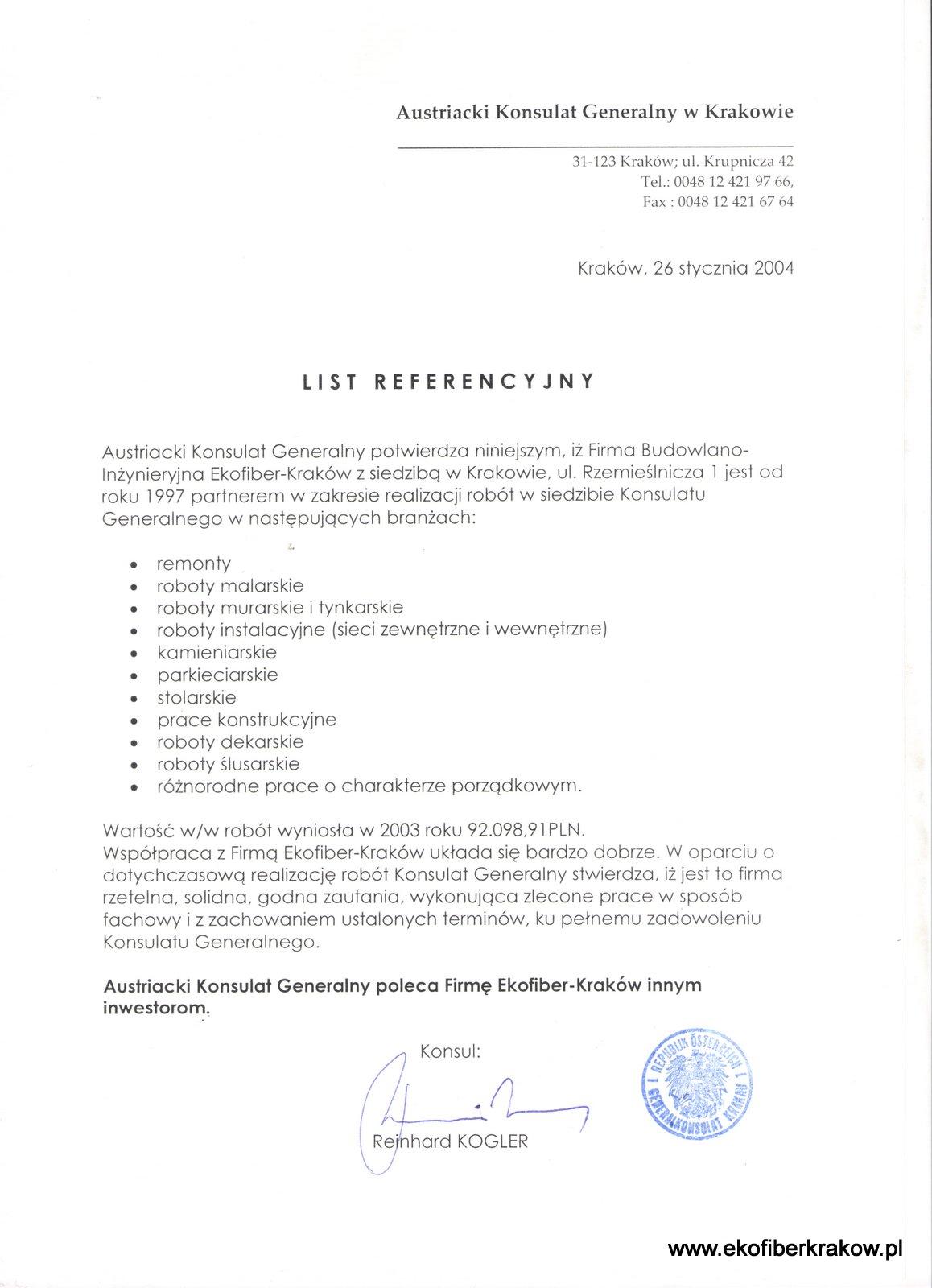Referencje Generalny Konsulat Austriacki w Krakowie