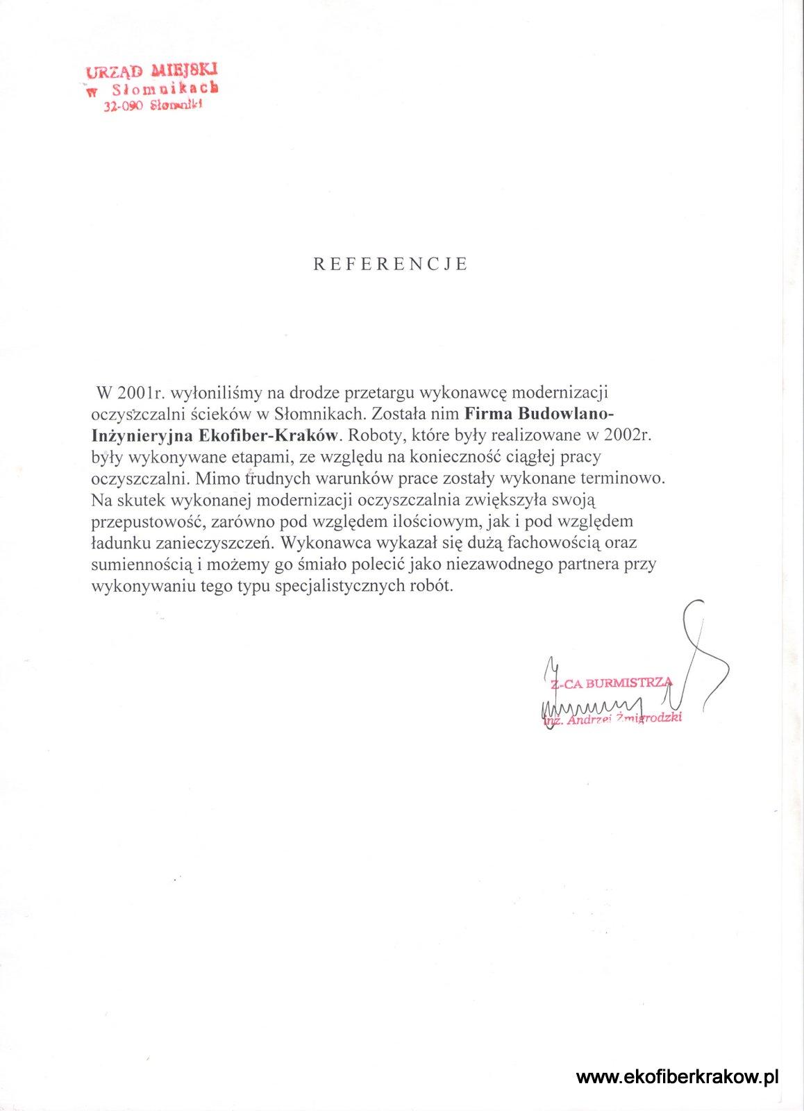Referencje UM w Słomnikach